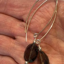 faceted smoky quartz dangle earrings