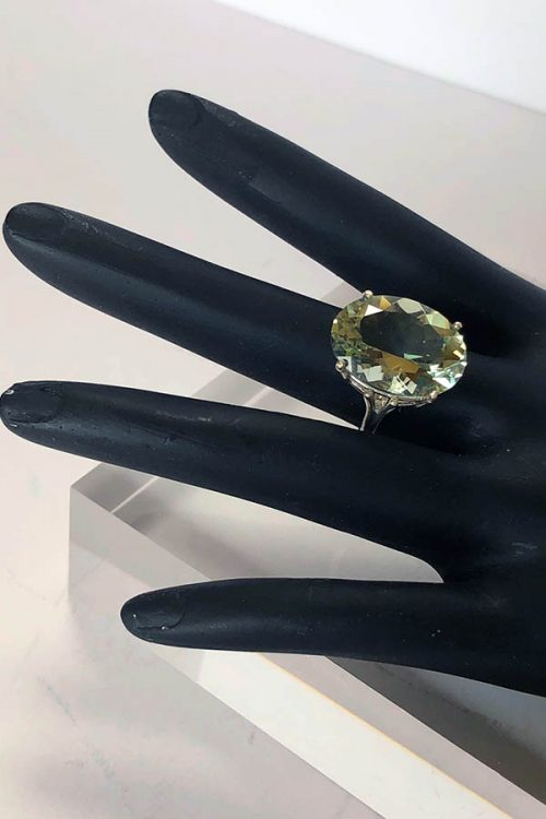 Green quartz prasiolite ring