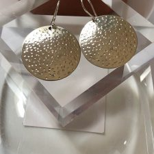 hammered silver disk earrings-large