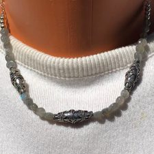 Labradorite faceted bead and silver bead necklace