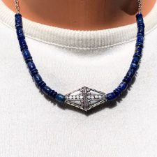 Lapis bead necklace with Bali silver focal