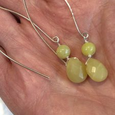 olive jade dangle earrings