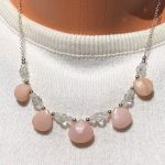 Pink opal and moonstone necklace