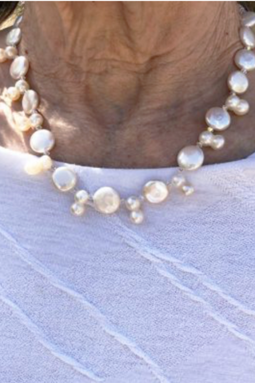 Coin Pearl Necklace with figure 8 pearls