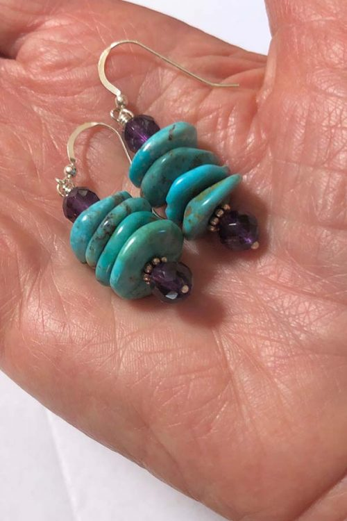 turquoise stack earrings with amethyst
