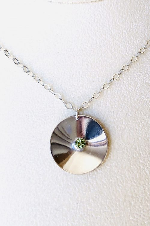 Disc-O pendant 4mm peridot - one inch across