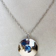 Disc-O pendant 8mm blue topaz - 1.25 inch across