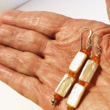 freshwater rectangle pearl earrings with carnelian