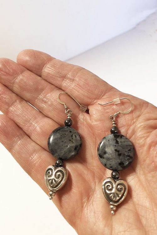 labradorite and silver heart earrings