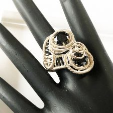 woven silver ring with onyx stones
