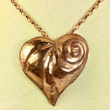 copper repousse heart pendant