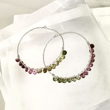 30mm sterling hoop earrings with tourmaline