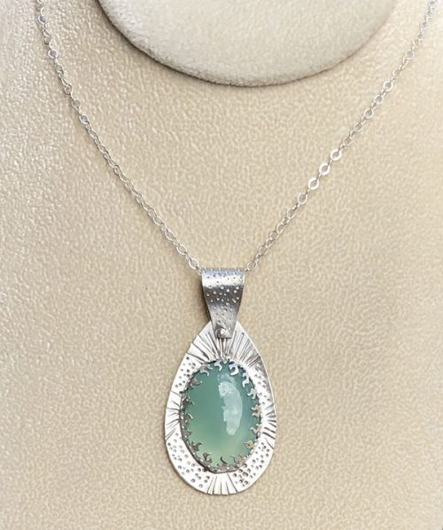 Aqua chalcedony and sterling silver pendant