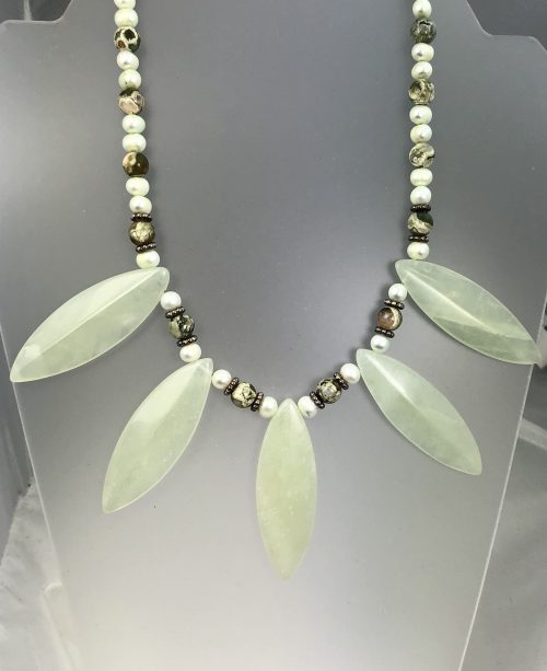 Long green leaf necklace with rainforest jasper