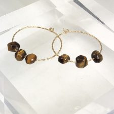 gold fill hoop earrings with tiger eye