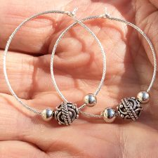 sterling silver hoop earrings-silver beads