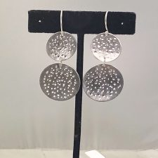 Hammered silver double earrings