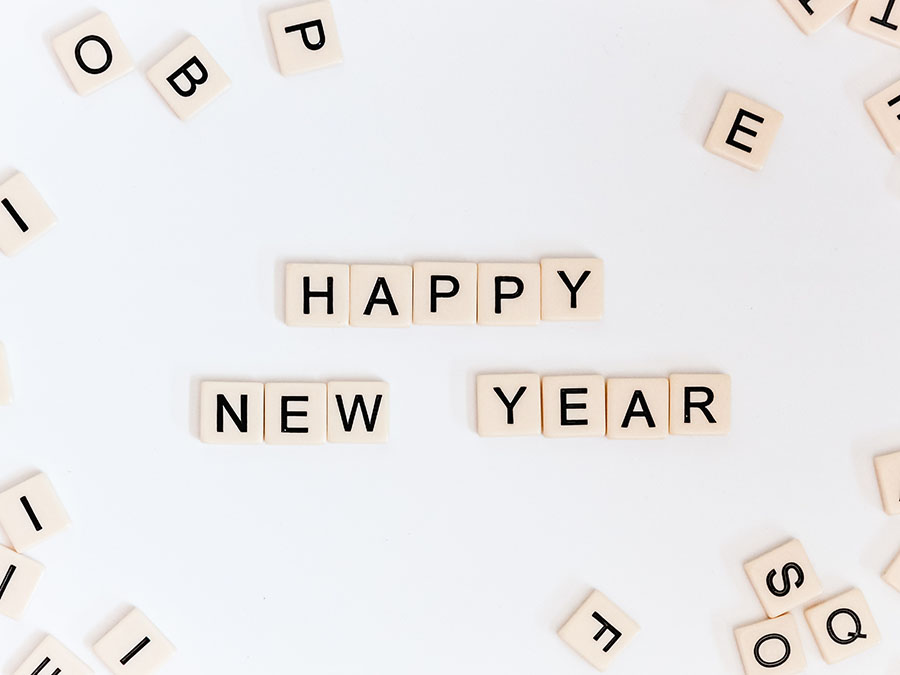 Happy New Year in Scrabble Tiles