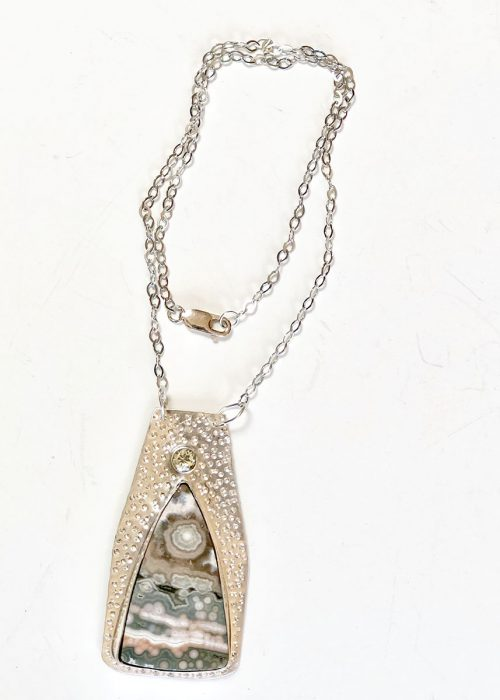 Ocean jasper and silver pendant with green amethyst