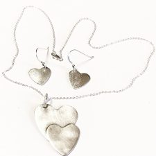 brushed silver heart necklace and earrings