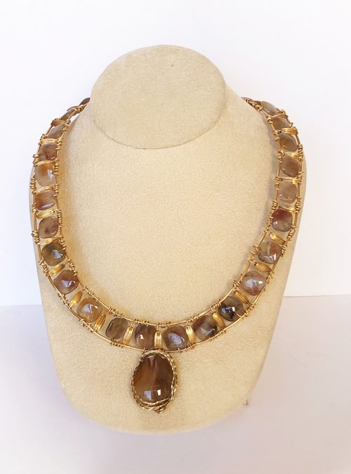 Brown flower agate necklace/collar