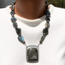 Labradorite and stromatolite necklace