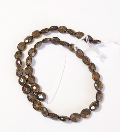Bronzite faceted coin beads