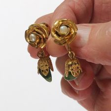 Gold rose clip on earrings with pearl and aventurine dangle
