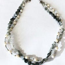 tourmalated quartz and pearl necklace