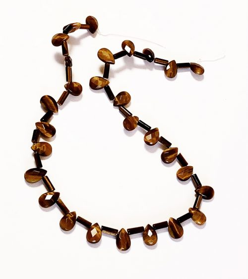 tiger eye cylinder beads and faceted tear drops