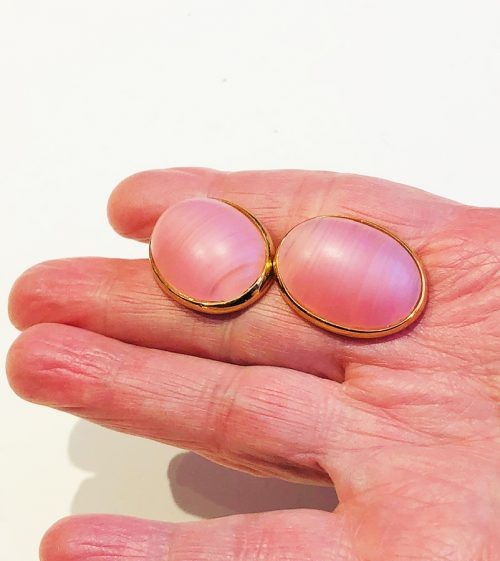 Napier Pink Oval Clip-on Earrings - larger image