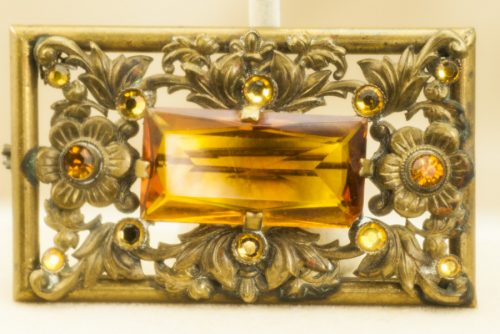 Czech brooch with amber glass stones