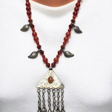 carnelian necklace and triangle pendant full length